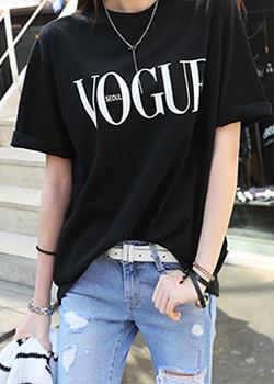 """486243 - <font color=""""878787""""><font face=""""굴림"""">ヴォーグ捺染Tシャツ</font></font>"""