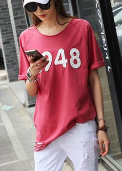 """487458 - <font color=""""878787""""><font face=""""굴림"""">ポップ版捺染Tシャツ</font></font>"""
